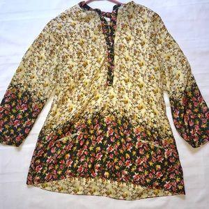 M Sundance 100% silk floral boho tunic blouse euc